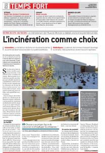 une photo de l'article sur le crématorium Auxois-Morvan parue dans le bien Public du 1er novembre 2013